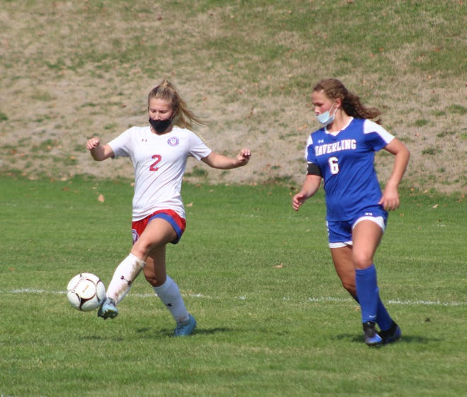 Hornell's Jaden Sciotti (2) keeps possession in the middle of the field against Haverling in Bath.