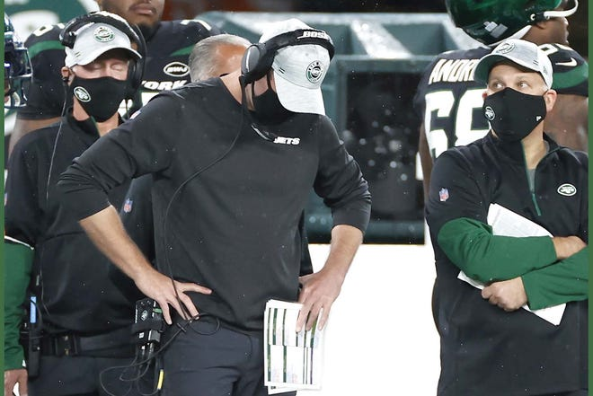 Jets coach Adam Gase reacts during a loss to Denver early this month marred by personal fouls.