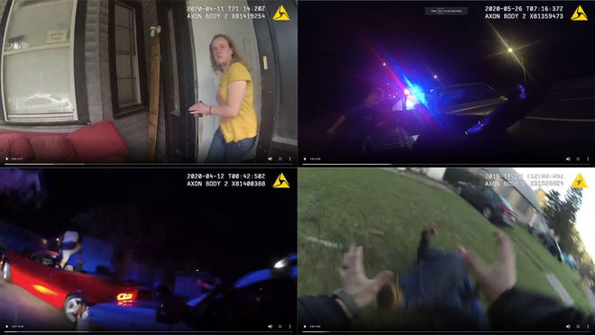 Screenshots of body-cam footage before Jacksonville police officers shot people.