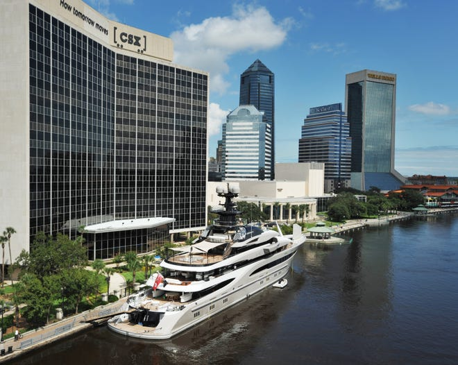 Jaguars owner Shad Khan's yacht, the Kismet, is docked at the CSX building on the St. Johns River in downtown Jacksonville.