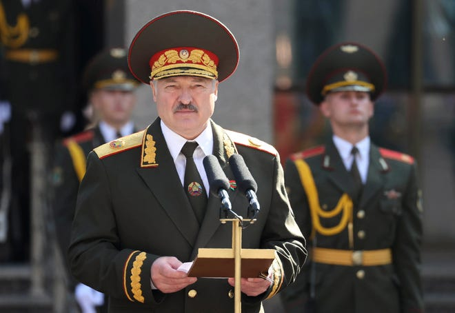 Belarusian President Alexander Lukashenko delivers a speech during his inauguration ceremony at the Palace of the Independence in Minsk, Belarus, on Sept. 23. Lukashenko assumed his sixth term of office in an inauguration ceremony that wasn't announced in advance.