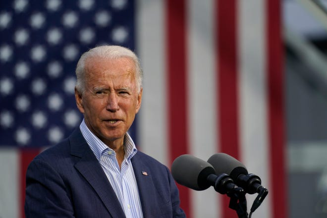 Democratic presidential candidate former Vice President Joe Biden speaks at the Plumbers Local Union No. 27 training center, Oct. 10, 2020, in Erie.