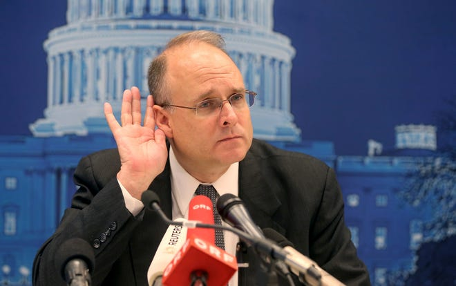 Marshal Billingslea, President Donald Trump's special envoy for arms control, listens during a June news conference in Vienna. U.S. and Russian negotiators have agreed in principle to continue freezing their nuclear warhead stockpiles in a bid to salvage their last remaining arms control pact before it expires next year, a person familiar with the talks said Friday.