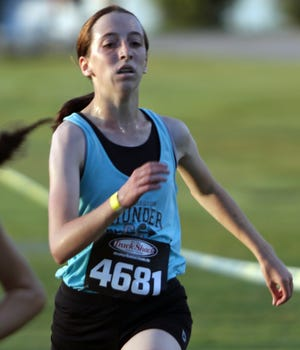 Lake Region freshman Anika Donohue runs to a 10th-place finish in the girls race on Saturday morning at the 2020 Polk County Cross Country Championship at Lake Region High School.