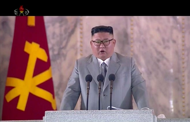 In this image made from video broadcasted by North Korea's KRT, North Korean leader Kim Jong Un delivers a speech during a ceremony to celebrate the 75th anniversary of the country's ruling party in Pyongyang on Saturday.