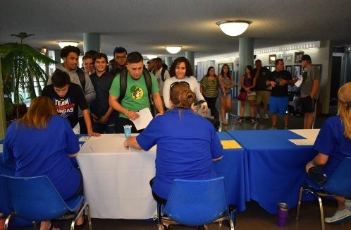Pratt Community College students participate in late summer enrollment activities. Kansas Board of Regents recently released date showing a drop in students and credit hours at state community colleges.
