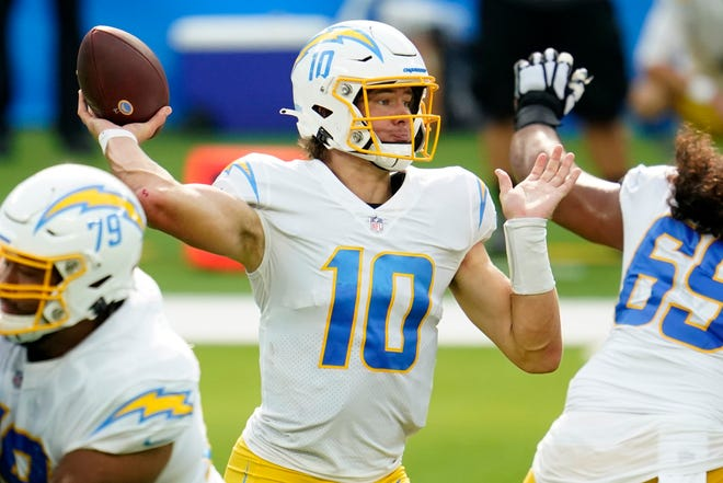 Los Angeles Chargers rookie quarterback Justin Herbert was 6 years old when Drew Brees played his final game with the Chargers. The two quarterbacks meet Monday when Brees' New Orleans Saints hosts Herbert and the Chargers.