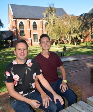 During a walk around downtown, Aaron Williams and Michael Dugay stopped by the courtyard at Christ Church.