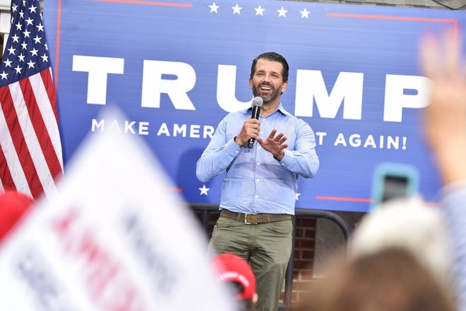 Donald Trump Jr. speaks Saturday at Cumberland County GOP headquarters in Fayetteville.