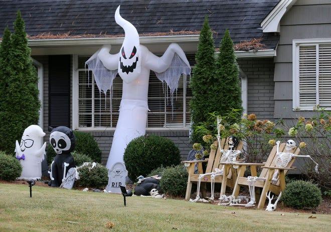 A Halloween yard display is seen at 417 Woodridge Drive in Tuscaloosa Friday, Oct. 9, 2020. [Staff Photo/Gary Cosby Jr.]