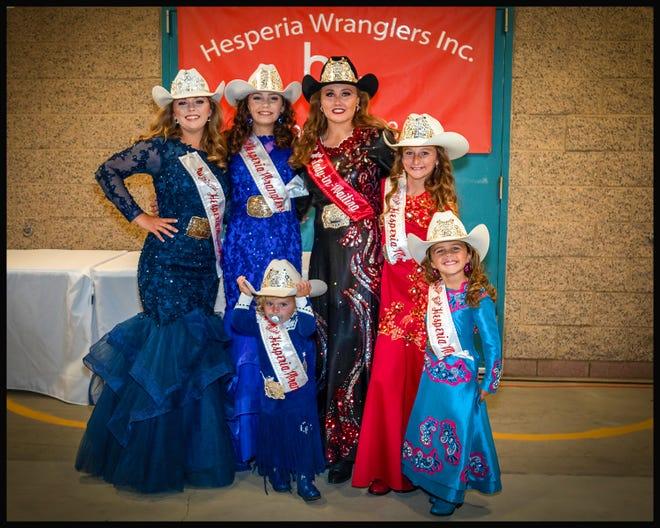 The 2021 Hesperia Wranglers queens, from left Princess Tori Barich; Junior Miss Cameron Yates; Miss Hesperia Wranglers Lexus Hampton; Young Miss LIllynn Warman. Front row: Tiny Miss Kayleigh Collins; Petite Miss Reese Keil.