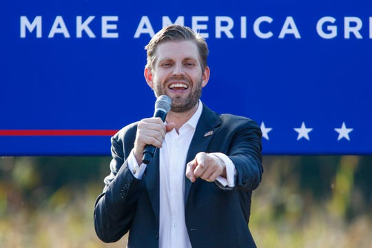 Eric Trump, the son of President Donald Trump, speaks at a campaign rally for his father in Monroe, N.C., Thursday, Oct. 8, 2020.