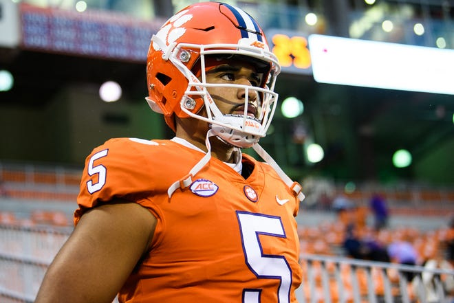 Clemson quarterback D.J. Uiagalelei(5) walks onto to the field for warmups before their game against Miami, Oct 10, 2020; Clemson Saturday, South Carolina, USA;  at Memorial Stadium. Mandatory Credit: Ken Ruinard-USA TODAY Sports