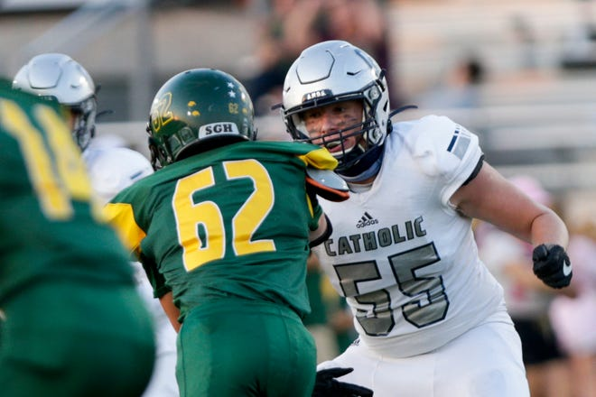 Central Catholic's Wade Hardebeck (55) moves to block Benton Central's Will Harman (62) during the first quarter of an IHSAA football game, Friday, Oct. 9, 2020 in Oxford.