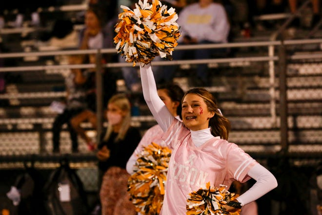 A Benton Central cheerleader reacts during the second quarter of an IHSAA football game, Friday, Oct. 9, 2020 in Oxford.