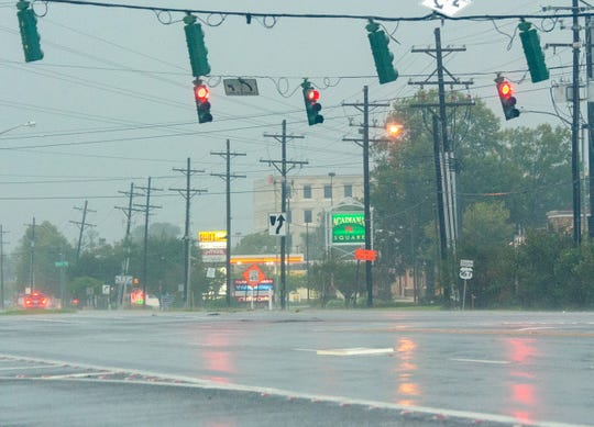 Strong winds and rain in Lafayette, La., as Hurricane Delta makes landfall Friday, Oct. 9, 2020.