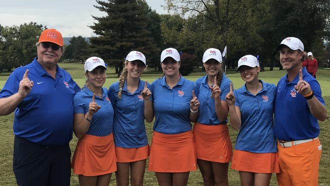 The Marshall County High School girls golf team had reason to smile Saturday after winning the state tournament at Bowling Green Country Club. From left are assistant coach Bridges Holland; players Katie Roberts, Trinity Beth, Savannah Howell, Megan Hertter and Elsie Riley; and head coach Aaron Beth.