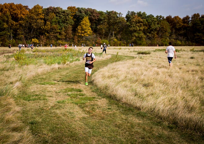 Monroe Central's Tucker Burris finished first in the sectional cross country meet at the Muncie Sportsplex Saturday, Oct. 10, 2020.