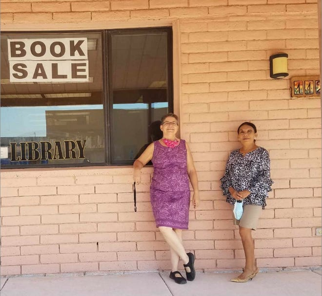 From left: Maria Constantine, director, and Maggie Calderon, youth librarian, of the Columbus Village Library. Thanks to a $50,000 grant, New Mexico State University's computer science department is working with the Columbus Village Library to provide needed access to computers and internet access to students in Columbus, New Mexico.