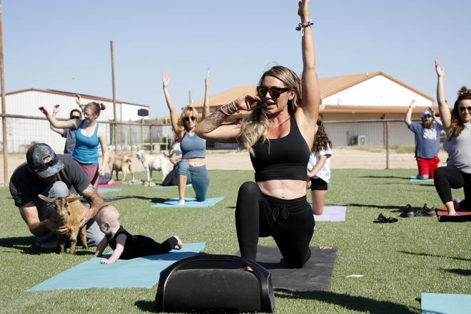 Jenny Woods leads a Goat Yoga session while her daughter Hazley plays with a goat held by her husband, Brandon Woods on Oct. 10, 2020. Woods celebrated the grand opening of Carlsbad Yoga Barre with outdoor yoga classes.