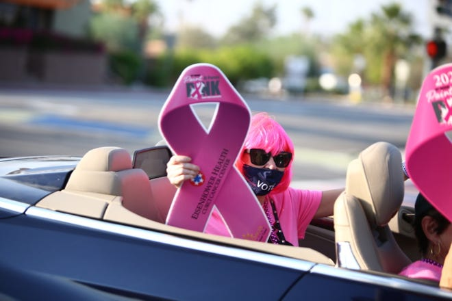 Friday Cruise Night on El Paseo, the opening event for Saturday's Paint El Paseo Pink event, took place in Palm Desert, Calif., on October 9, 2020. The 14th annual breast cancer awareness walk benefits the Desert Cancer Foundation's Patient Assistance Programs.
