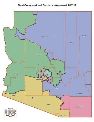 Arizona's congressional districts, as approved by the redistricting commission in 2012.