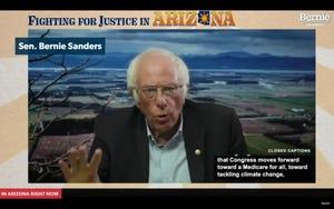 Sen. Bernie Sanders, I-Vt., holds a virtual town hall on Oct. 10, 2020, urging Arizonans to vote for Democrat Joe Biden.