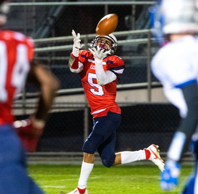 Alexander Rufe (5) looks to make a big catch during the football game between Lebanon and Garden Spot, Friday, October 9, 2020.The Cedars defeated the Spartans 32-23.