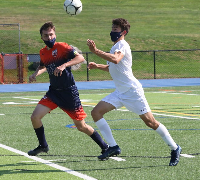Nico Bisgaier (9) keeps the pressure on during a 3-0 win over Greeley, Oct. 10, 2020. He finished the game with a pair of assists, setting up Ross Eagle for the Bobcats' first and last goals of the match.