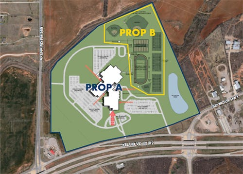 This image shows the proposed location of a new high school in southwest Wichita Falls at 6422 Seymour Highway.