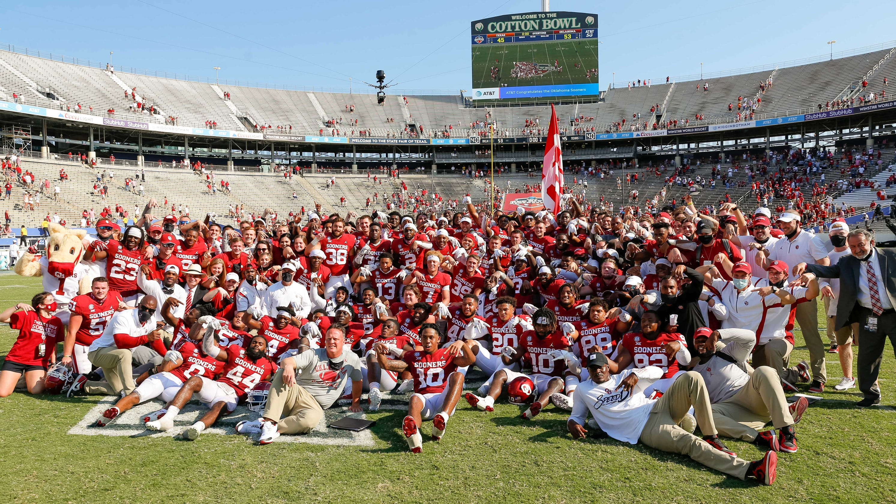 Oklahoma beats Texas in four overtimes in longest Red River Shootout 53-45 – USA TODAY