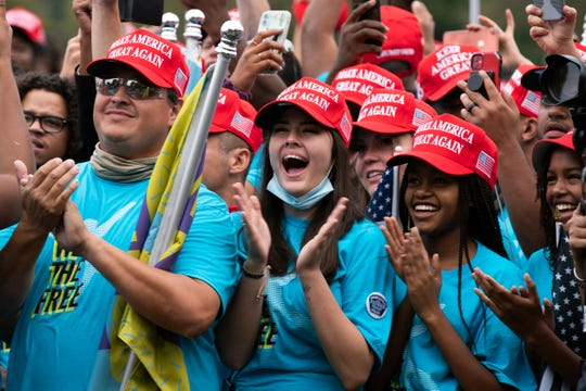 Supporters of President Donald Trump rally at The Ellipse, before entering to The White House, where Trump will hold an event on the South lawn on Saturday, Oct. 10, 2020, in Washington.