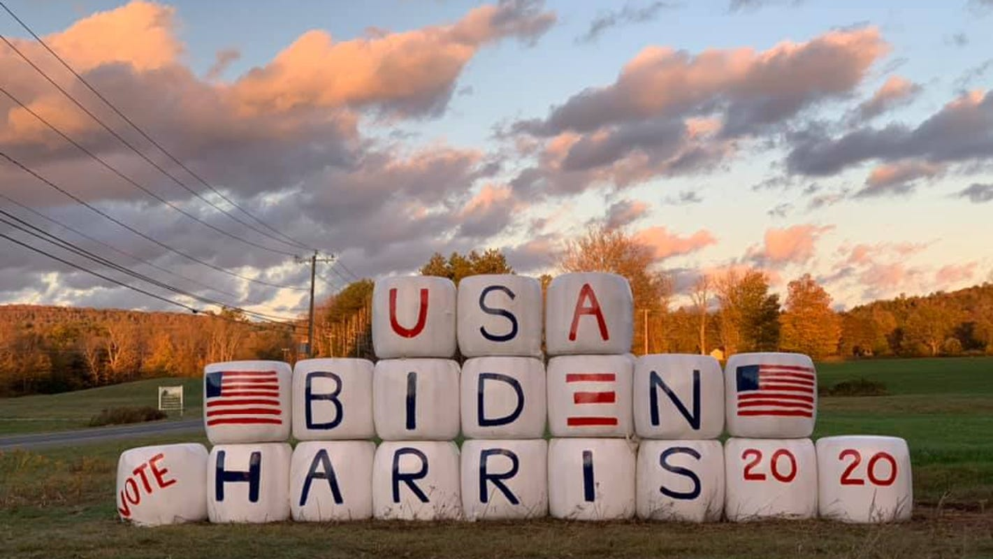 Biden-Harris hay bale display in Massachusetts set on fire 24 hours after it was finished
