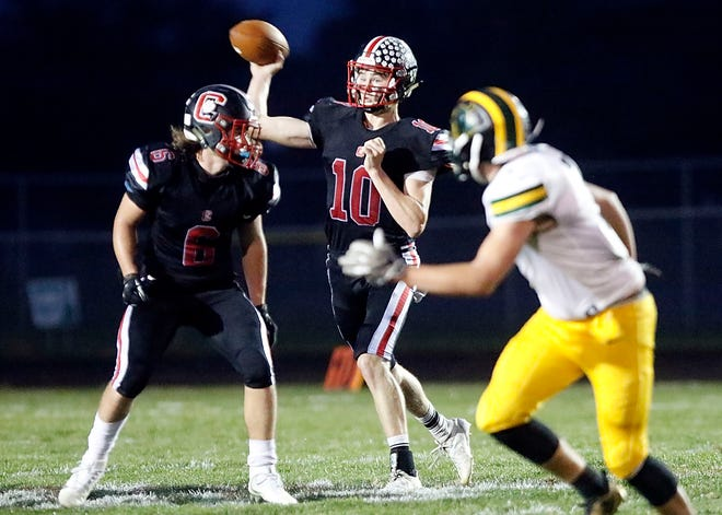 Crestview's Ross Kuhn throws a pass during a game earlier this season. Kuhn was named Offensive and Defensive Back of the Year in the Firelands Conference.