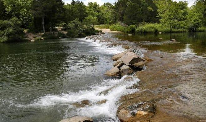 The Blue River near Tishomingo in Johnston County in seen in June 2018.