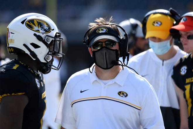 Missouri head coach Eli Drinkwitz watches from the sidelines during a Southeastern Conference game against LSU on Saturday at Faurot Field.