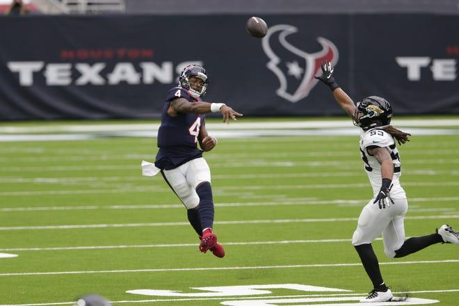 Texans quarterback Deshaun Watson (4) throws over Jaguars linebacker Dakota Allen (53) during the teams' Oct. 11 game in Houston.