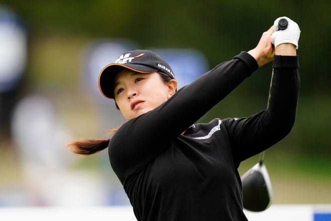 Sei Young Kim, of South Korea, watches her tee shot on the 12th hole during the final round at the KPMG Women's PGA Championship tournament at the Aronimink Golf Club, on Sunday in Newtown Square, Pa.