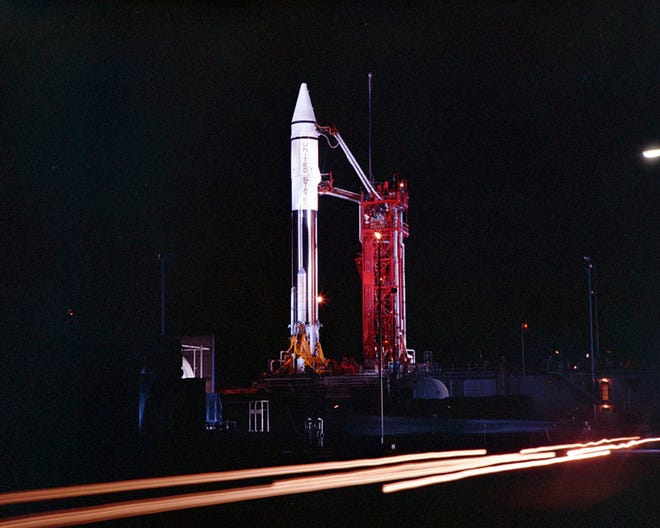This Sept. 20, 1966 photo provided by the San Diego Air and Space Museum shows an Atlas Centaur 7 rocket on the launchpad at Cape Canaveral, Fla. NASA's leading asteroid expert, Paul Chodas, speculates that asteroid 2020 SO, as it is formally known, is actually a Centaur upper rocket stage that propelled NASA's Surveyor 2 lander to the moon in 1966 before it was discarded. (Convair/General Dynamics Astronautics Atlas Negative Collection/San Diego Air and Space Museum via AP)