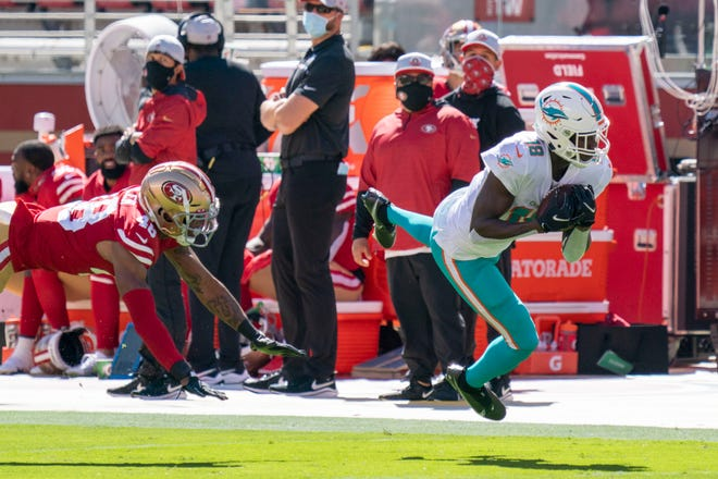 Dolphins receiver Preston Williams, right, beats 49ers cornerback Brian Allen for a reception Sunday in Santa Clara, Calif.