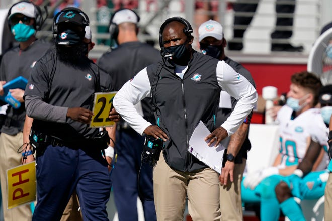 Dolphins coach Brian Flores during the 49ers game.