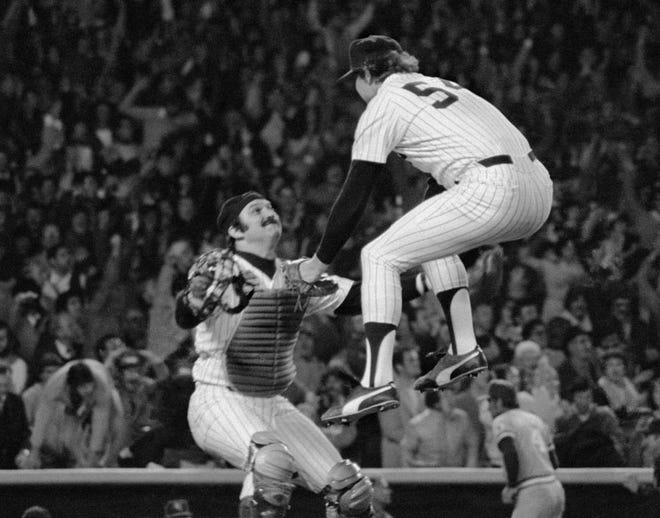 "Thurman Munson-Goose Gossage AP Thurman Munson waits for teammate ""Goose"" Gossage to leap into his arms after the New York Yankees beat the Kansas City Royals in the 1978 American League Championship Series."