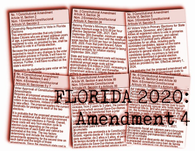 Florida's proposed constitutional amendments for 2020:  Amendment 4 would require two subsequent elections to pass constitutional amendments