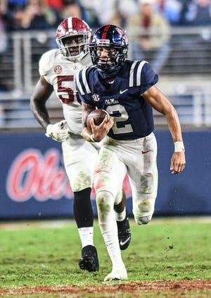 Ole Miss quarterback Matt Corral (2) runs against Alabama at Vaught-Hemingway Stadium in Oxford, Miss. on Saturday, October 10, 2020. Alabama  won 63-48. (Bruce Newman)
