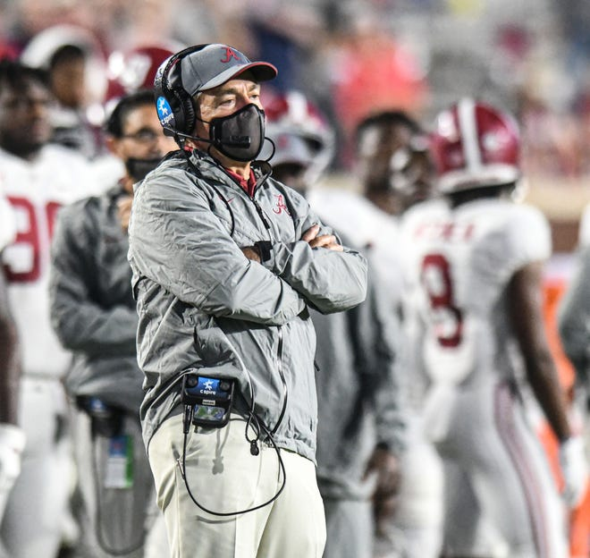 Alabama head coach Nick Saban watches against Ole Miss at Vaught-Hemingway Stadium in Oxford, Miss. on Saturday, October 10, 2020. (Bruce Newman)