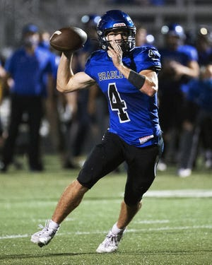 A.J. Mirgon and 13th-seeded Hilliard Bradley upset fourth-seeded Groveport 28-7 on Oct. 9 in a Division I, Region 3 playoff opener.