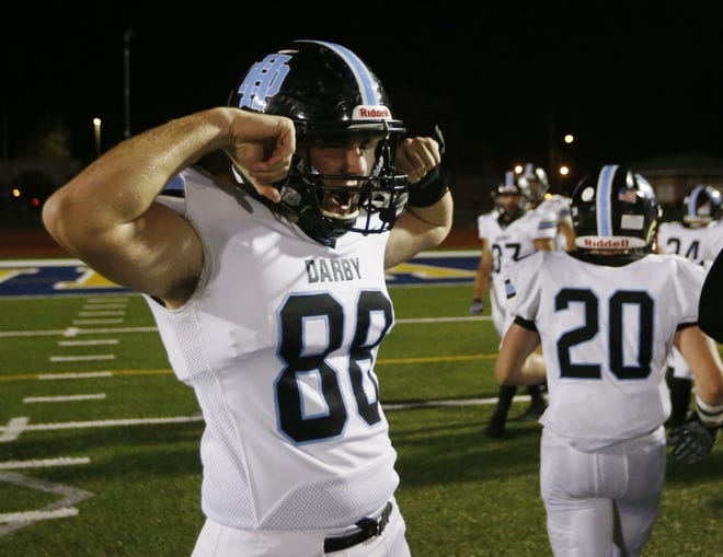 Colin Bodak celebrates Hilliard Darby's 21-7 win at Gahanna in the first round of the Division I, Region 3 playoffs Oct. 9. The Panthers visit defending state champion Pickerington Central on Friday, Oct. 16.