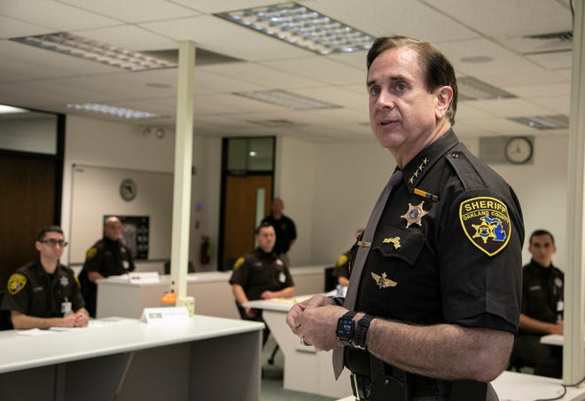 Oakland County Sheriff Mike Bouchard visits the Sheriff's Office Training Center, a former middle school in Ortonville, Thursday Oct. 8, 2020.