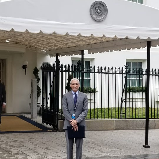 Javed Ali, a former senior director for counterterrorism at the National Security Council, is pictured here about the enter the West Wing of the White House in March 2018. He is now teaching at the University of Michigan in the Gerald R. Ford School of Public Policy.