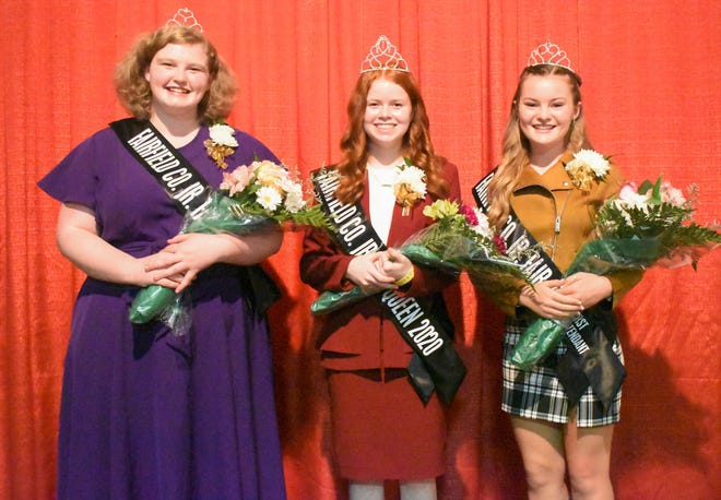 From left to right: Caroline Mason, 17, second-attendee; Hannah Henry, 17, 2020 Fairfield County Junior Fair Queen; and Kayla Sharp, 17, first-attendee.